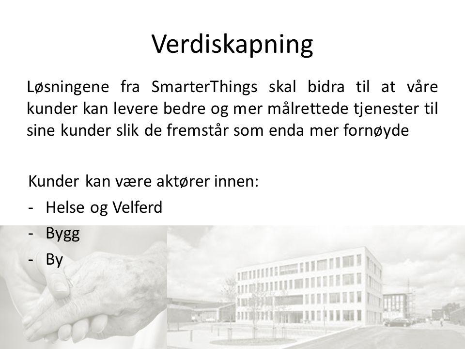 Verdiskapning Kunder kan være aktører innen: -Helse og Velferd -Bygg -By Løsningene fra SmarterThings skal bidra til at våre kunder kan levere bedre og mer målrettede tjenester til sine kunder slik de fremstår som enda mer fornøyde