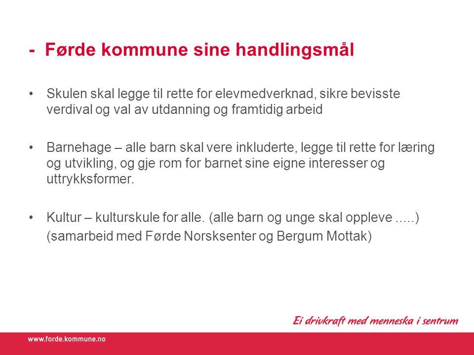 - Førde kommune sine handlingsmål Skulen skal legge til rette for elevmedverknad, sikre bevisste verdival og val av utdanning og framtidig arbeid Barn