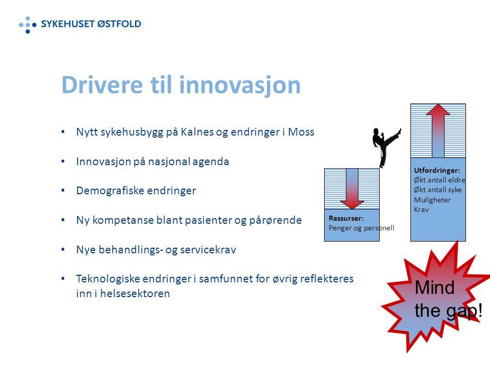 Nytt sykehusbygg på Kalnes og endringer i Moss Innovasjon på nasjonal agenda Demografiske endringer Ny kompetanse blant pasienter og pårørende Nye beh