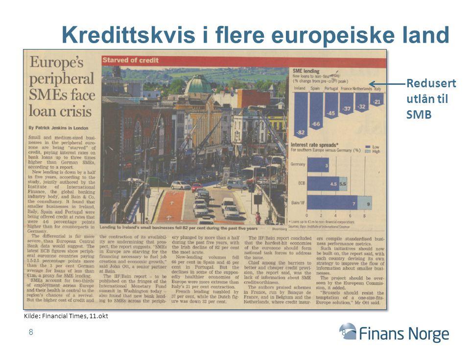 Kredittskvis i flere europeiske land 8 Kilde: Financial Times, 11.okt Redusert utlån til SMB 8