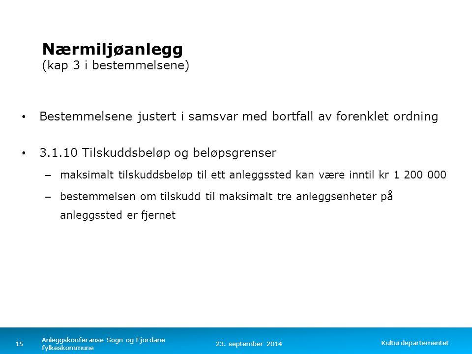 Kulturdepartementet Norsk mal: Tekst med kulepunkter – 4 vertikale bilder Nærmiljøanlegg (kap 3 i bestemmelsene) Bestemmelsene justert i samsvar med b