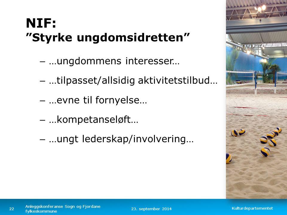 "Kulturdepartementet Norsk mal: Tekst med kulepunkter - 1 vertikalt bilde Tips bilde: For best oppløsning anbefales Jpg og png- format NIF: ""Styrke ung"