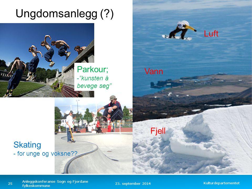 Kulturdepartementet Norsk mal: Tekst med kulepunkter – 4 vertikale bilder 23. september 2014 Anleggskonferanse Sogn og Fjordane fylkeskommune Parkour;