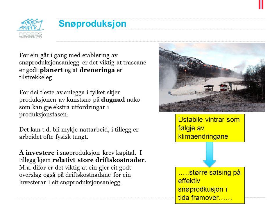 Snøproduksjon Før ein går i gang med etablering av snøproduksjonsanlegg er det viktig at traseane er godt planert og at dreneringa er tilstrekkeleg Fo