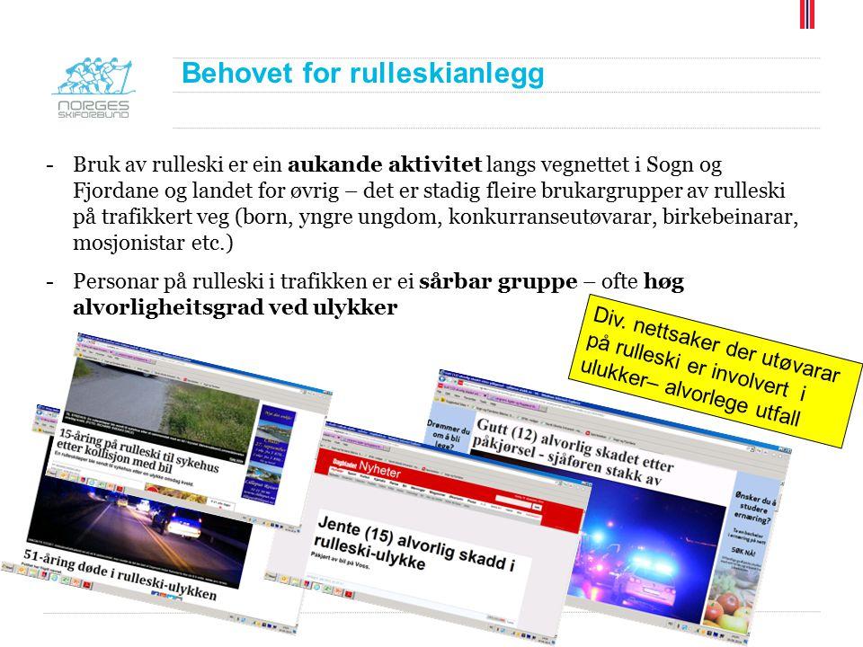 Behovet for rulleskianlegg -Bruk av rulleski er ein aukande aktivitet langs vegnettet i Sogn og Fjordane og landet for øvrig – det er stadig fleire br