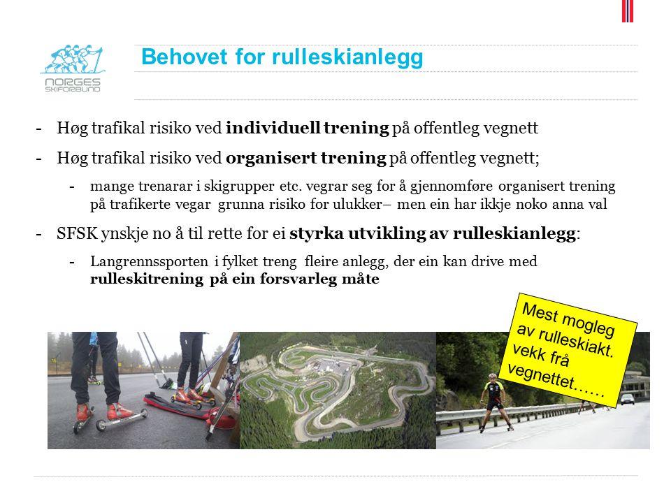 Behovet for rulleskianlegg -Høg trafikal risiko ved individuell trening på offentleg vegnett -Høg trafikal risiko ved organisert trening på offentleg