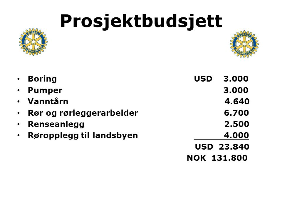 Finansiering Bidrag Oppegård-klubbene USD 9.550 Bidrag Skjeberg RK 910 Bidrag RC Udon Thani 100 Distriktsfondet 4.000 Rotary Foundation USD 9.280 USD 23.840 =NOK 131.800