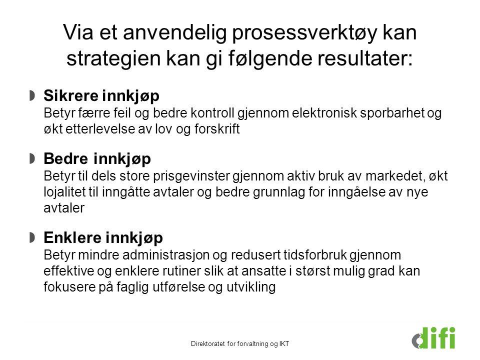 Via et anvendelig prosessverktøy kan strategien kan gi følgende resultater: Direktoratet for forvaltning og IKT Sikrere innkjøp Betyr færre feil og be