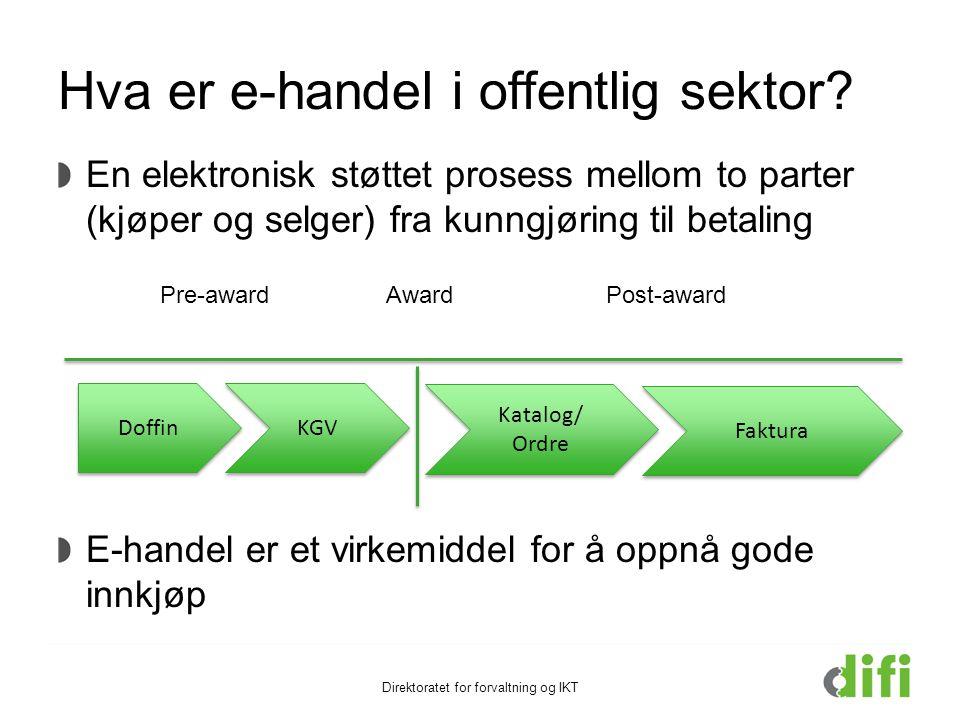 Hva er e-handel i offentlig sektor? En elektronisk støttet prosess mellom to parter (kjøper og selger) fra kunngjøring til betaling E-handel er et vir