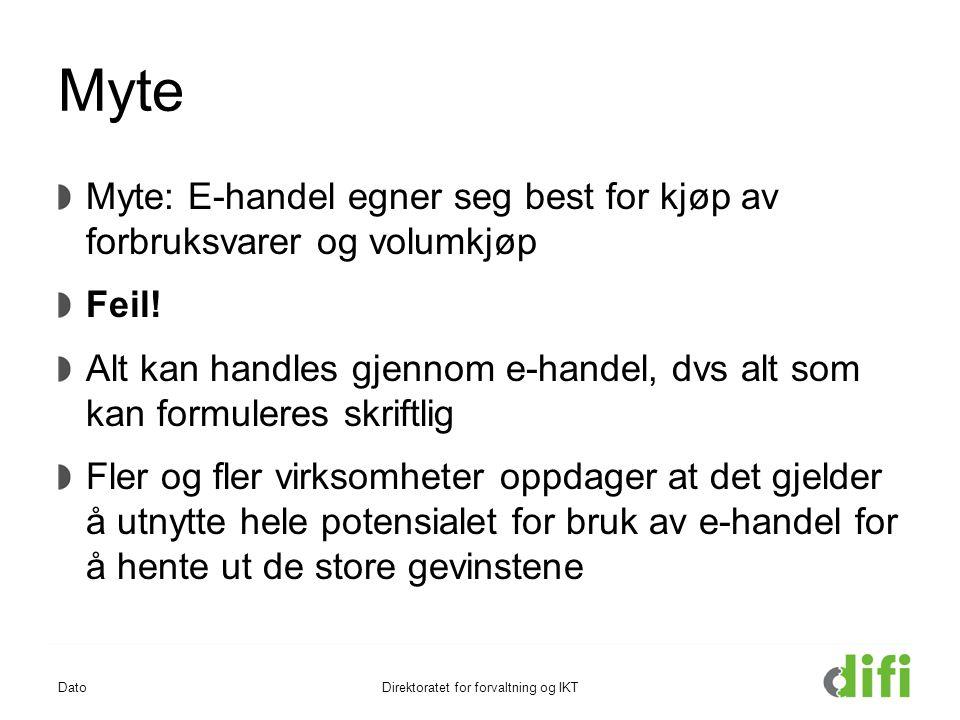 Myte Myte: E-handel egner seg best for kjøp av forbruksvarer og volumkjøp Feil! Alt kan handles gjennom e-handel, dvs alt som kan formuleres skriftlig