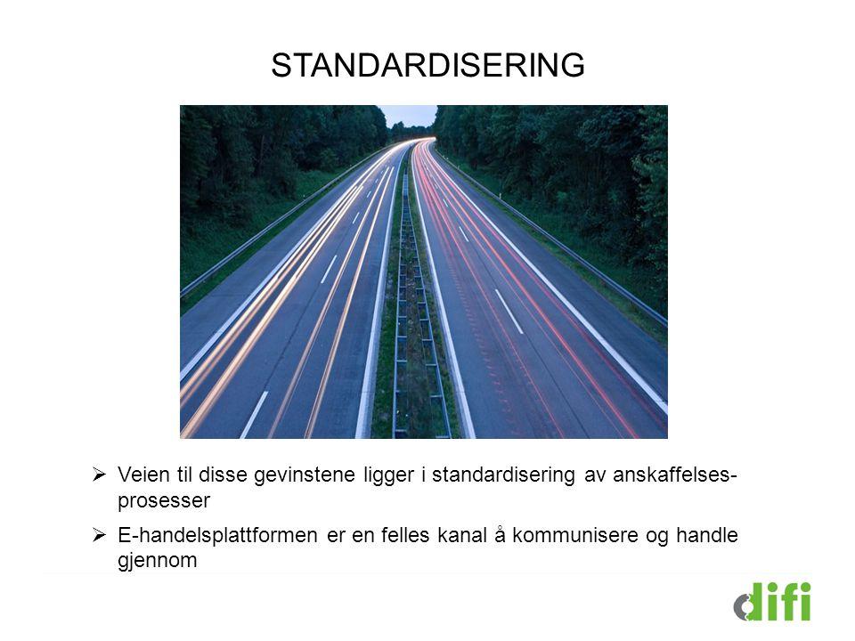 STANDARDISERING  Veien til disse gevinstene ligger i standardisering av anskaffelses- prosesser  E-handelsplattformen er en felles kanal å kommunise