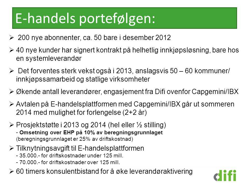 E-handels portefølgen:  200 nye abonnenter, ca. 50 bare i desember 2012  40 nye kunder har signert kontrakt på helhetlig innkjøpsløsning, bare hos e