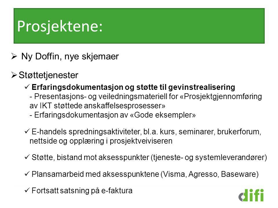 Prosjektene:  Ny Doffin, nye skjemaer  Støttetjenester Erfaringsdokumentasjon og støtte til gevinstrealisering - Presentasjons- og veiledningsmateri