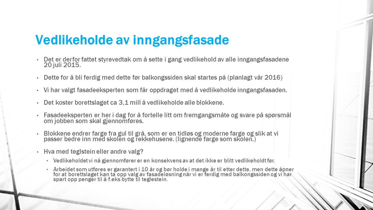 Vedlikeholde av inngangsfasade Det er derfor fattet styrevedtak om å sette i gang vedlikehold av alle inngangsfasadene 20 juli 2015.