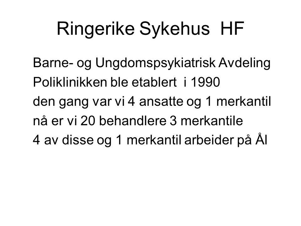 Ringerike Sykehus HF Barne- og Ungdomspsykiatrisk Avdeling Poliklinikken ble etablert i 1990 den gang var vi 4 ansatte og 1 merkantil nå er vi 20 beha
