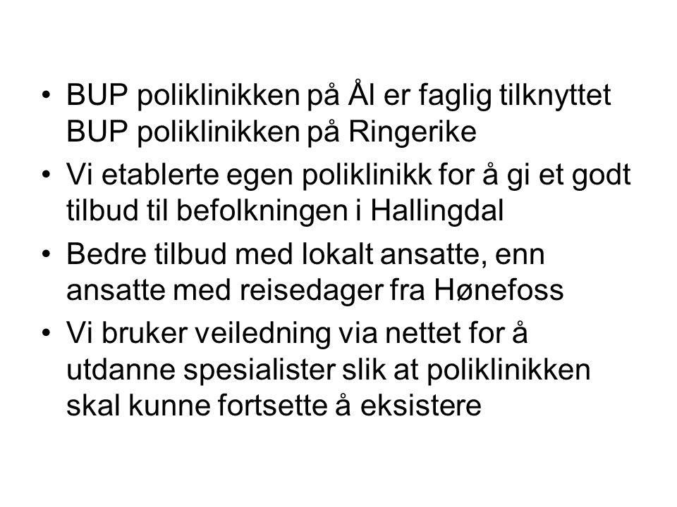 BUP poliklinikken på Ål er faglig tilknyttet BUP poliklinikken på Ringerike Vi etablerte egen poliklinikk for å gi et godt tilbud til befolkningen i H