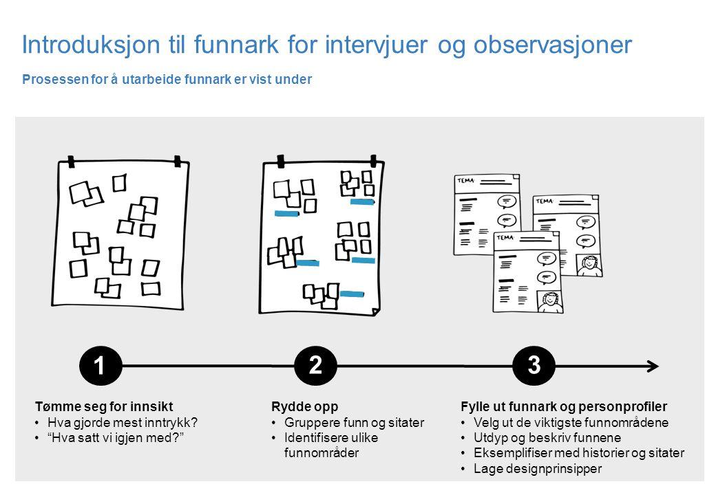 Introduksjon til funnark for intervjuer og observasjoner Prosessen for å utarbeide funnark er vist under Fylle ut funnark og personprofiler Velg ut de
