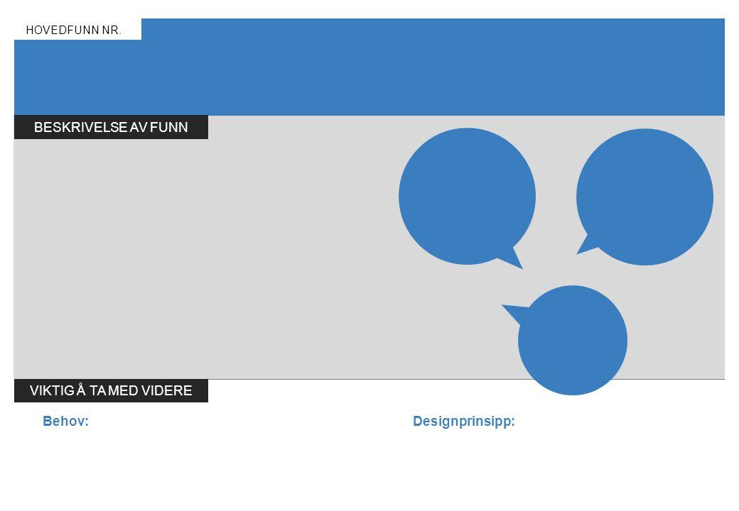 BESKRIVELSE AV FUNN HOVEDFUNN NR. VIKTIG Å TA MED VIDERE Behov:Designprinsipp: