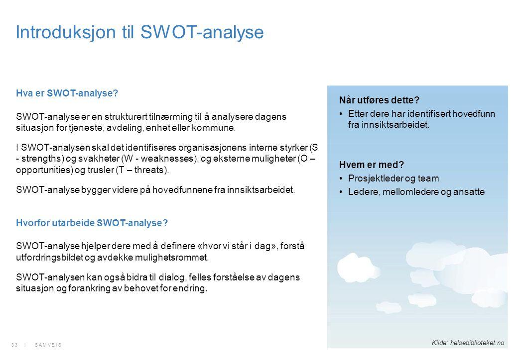 Introduksjon til SWOT-analyse Hva er SWOT-analyse? SWOT-analyse er en strukturert tilnærming til å analysere dagens situasjon for tjeneste, avdeling,