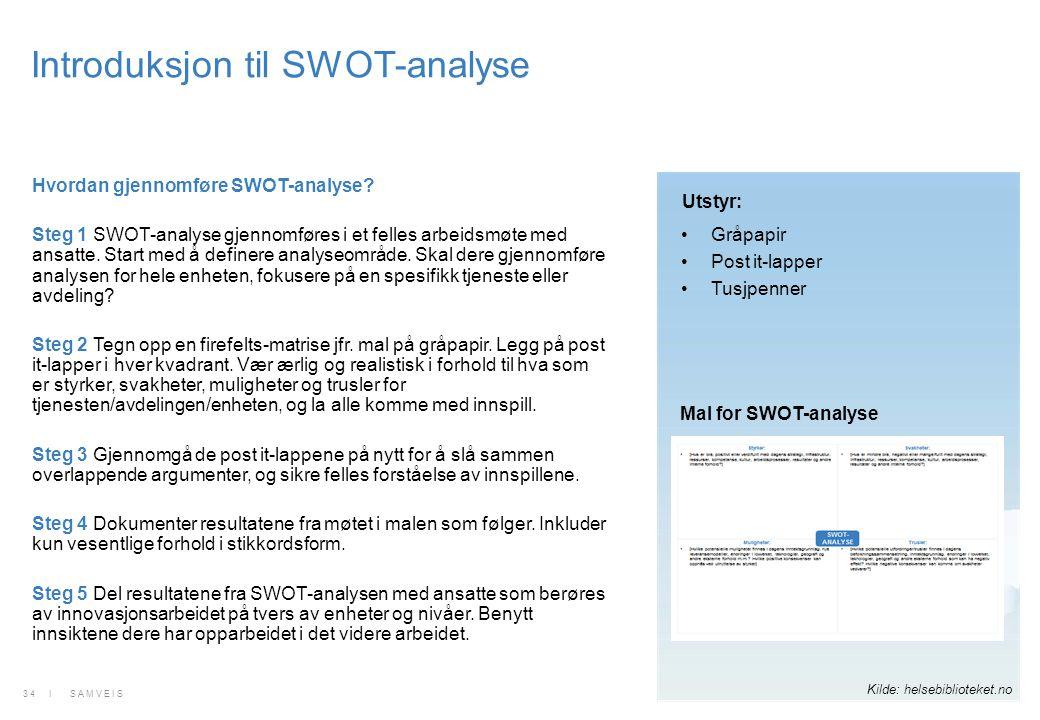 Introduksjon til SWOT-analyse Hvordan gjennomføre SWOT-analyse? Steg 1 SWOT-analyse gjennomføres i et felles arbeidsmøte med ansatte. Start med å defi