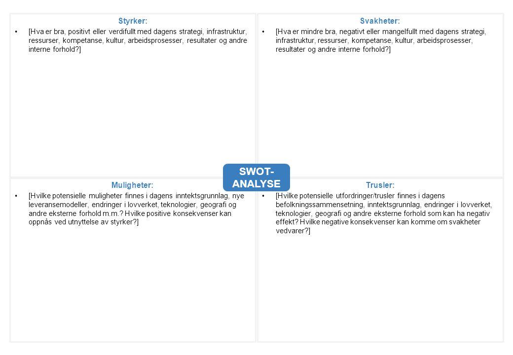 SWOT- ANALYSE Styrker: [Hva er bra, positivt eller verdifullt med dagens strategi, infrastruktur, ressurser, kompetanse, kultur, arbeidsprosesser, res