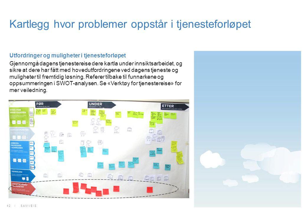 Kartlegg hvor problemer oppstår i tjenesteforløpet Utfordringer og muligheter i tjenesteforløpet Gjennomgå dagens tjenestereise dere kartla under inns