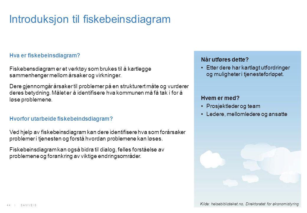 Introduksjon til fiskebeinsdiagram Hva er fiskebeinsdiagram? Fiskebensdiagram er et verktøy som brukes til å kartlegge sammenhenger mellom årsaker og