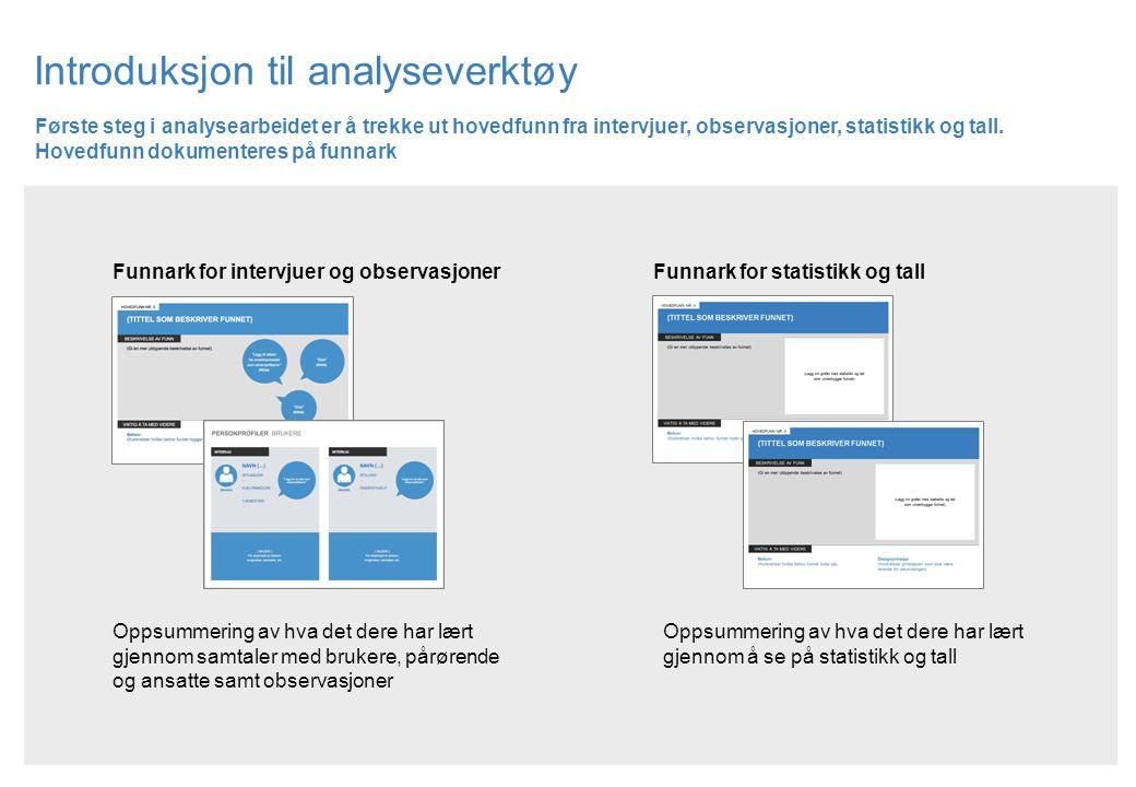 Introduksjon til analyseverktøy Første steg i analysearbeidet er å trekke ut hovedfunn fra intervjuer, observasjoner, statistikk og tall. Hovedfunn do
