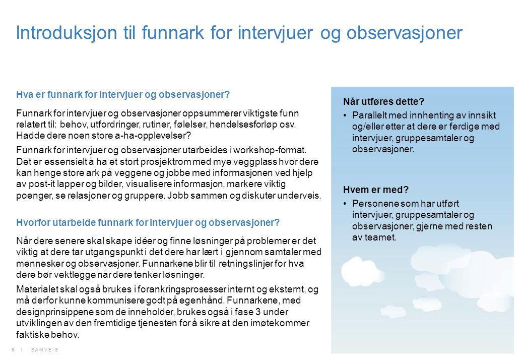 Introduksjon til funnark for intervjuer og observasjoner Felles oppsummering og analyse av informasjonen.