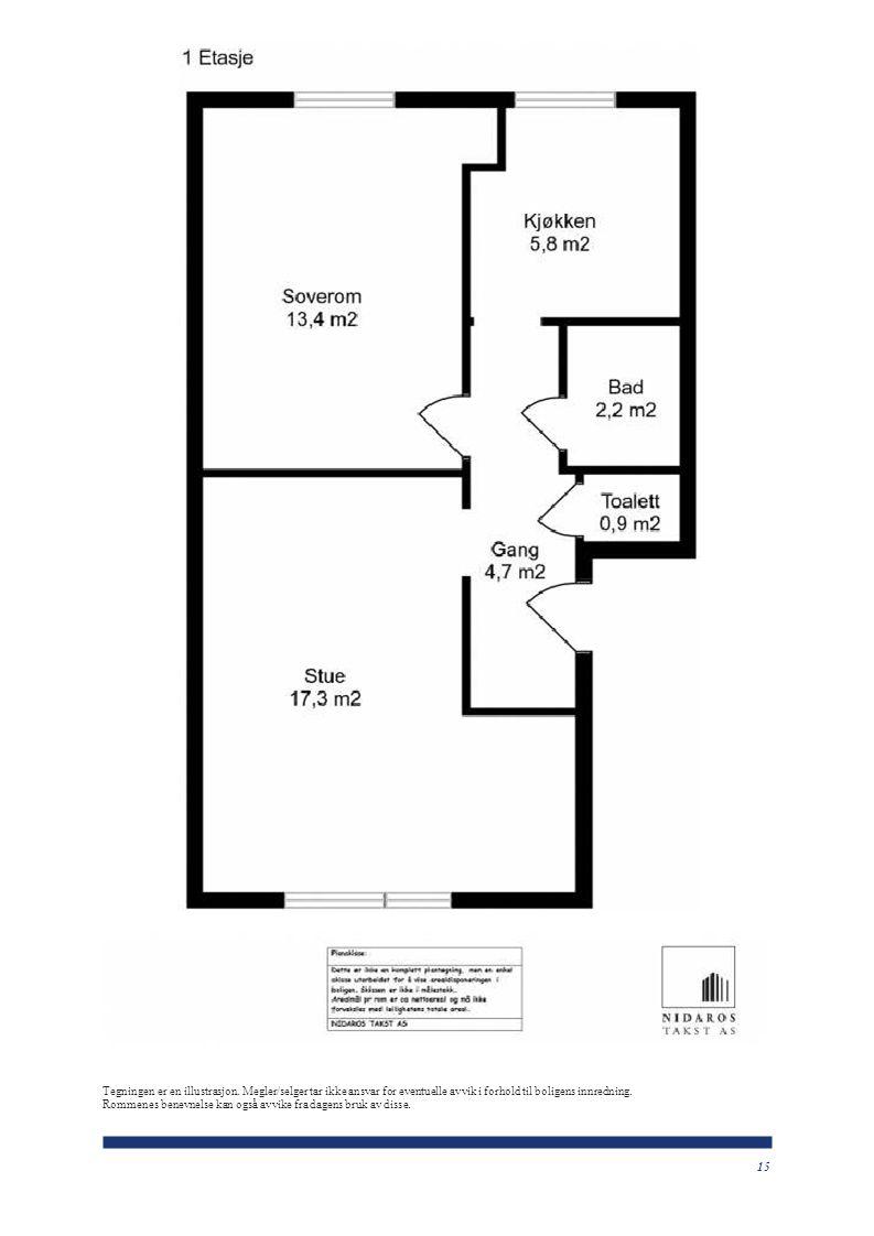 15 Tegningen er en illustrasjon. Megler/selger tar ikke ansvar for eventuelle avvik i forhold til boligens innredning. Rommenes benevnelse kan også av
