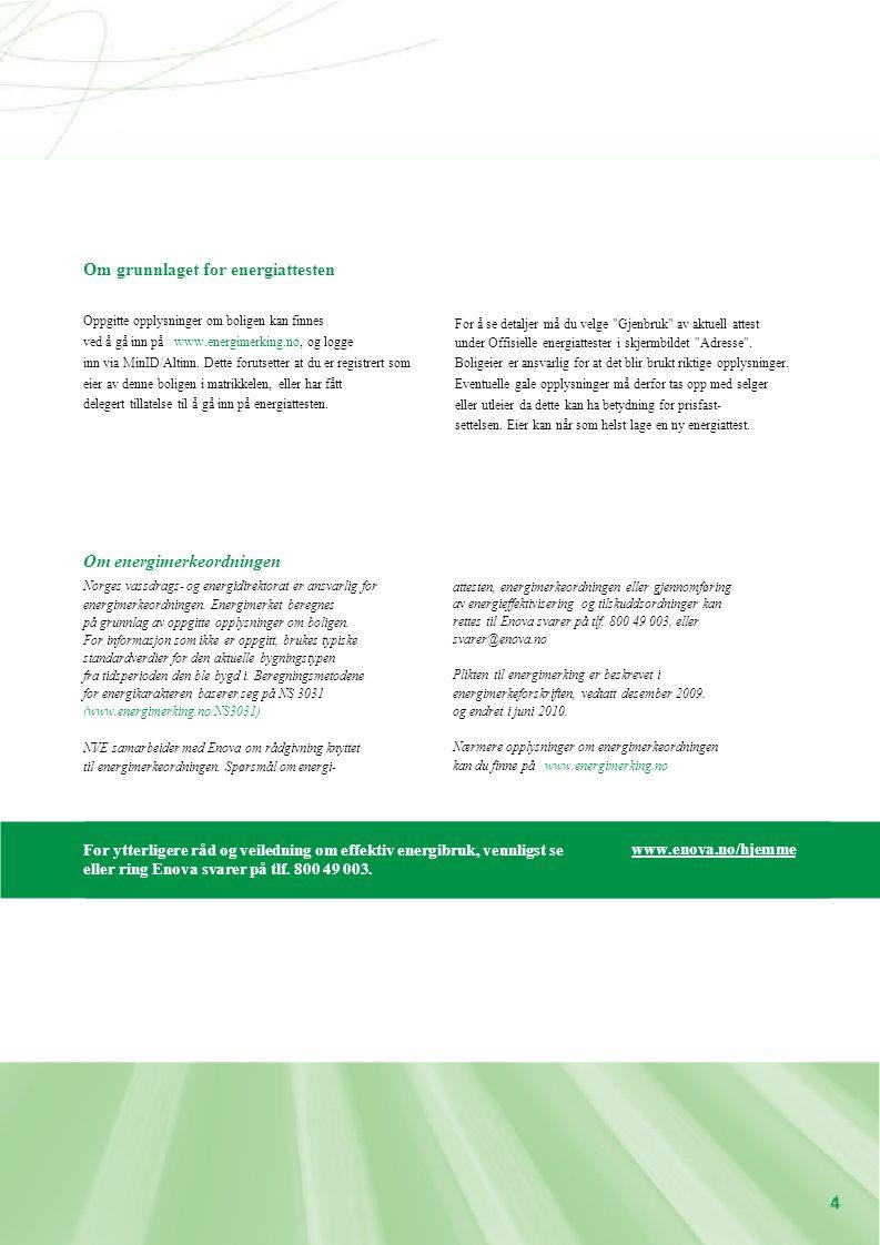For ytterligere råd og veiledning om effektiv energibruk, vennligst se eller ring Enova svarer på tlf. 800 49 003. www.enova.no/hjemme Om energimerkeo