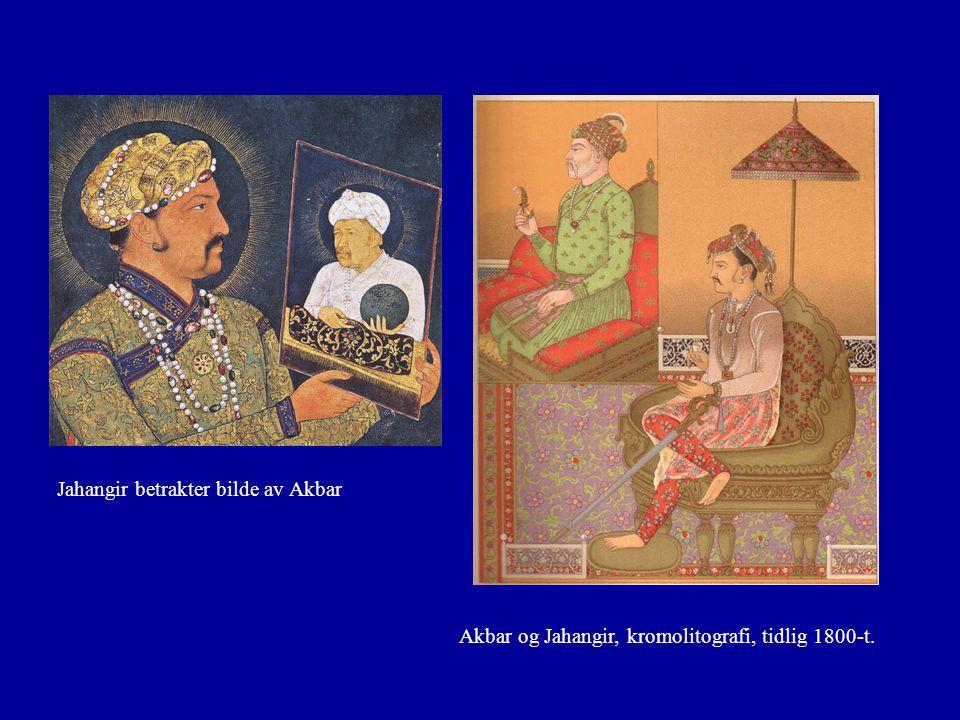 Akbar og Jahangir, kromolitografi, tidlig 1800-t. Jahangir betrakter bilde av Akbar