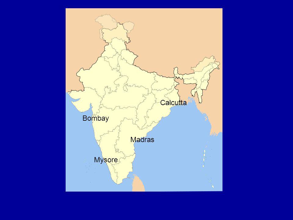 Bombay Calcutta Madras Mysore