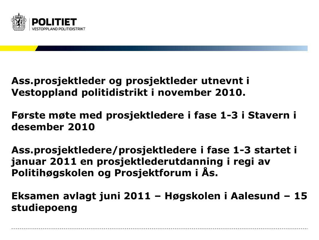 Ass.prosjektleder og prosjektleder utnevnt i Vestoppland politidistrikt i november 2010.