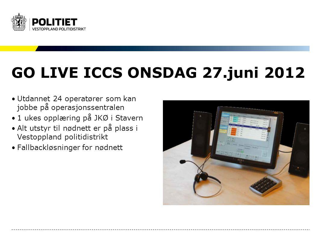 GO LIVE ICCS ONSDAG 27.juni 2012 Utdannet 24 operatører som kan jobbe på operasjonssentralen 1 ukes opplæring på JKØ i Stavern Alt utstyr til nødnett er på plass i Vestoppland politidistrikt Fallbackløsninger for nødnett