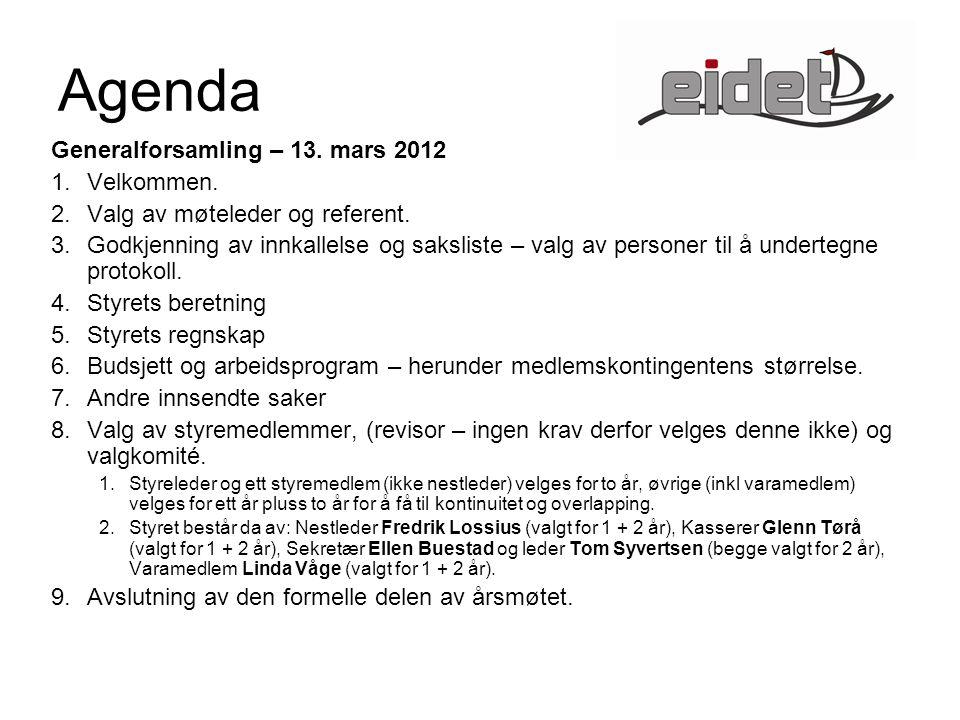 Agenda Generalforsamling – 13. mars 2012 1.Velkommen.