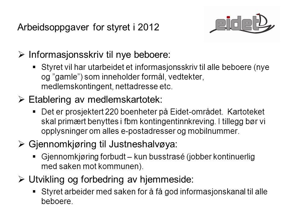 Arbeidsoppgaver for styret i 2012  Informasjonsskriv til nye beboere:  Styret vil har utarbeidet et informasjonsskriv til alle beboere (nye og gamle ) som inneholder formål, vedtekter, medlemskontingent, nettadresse etc.