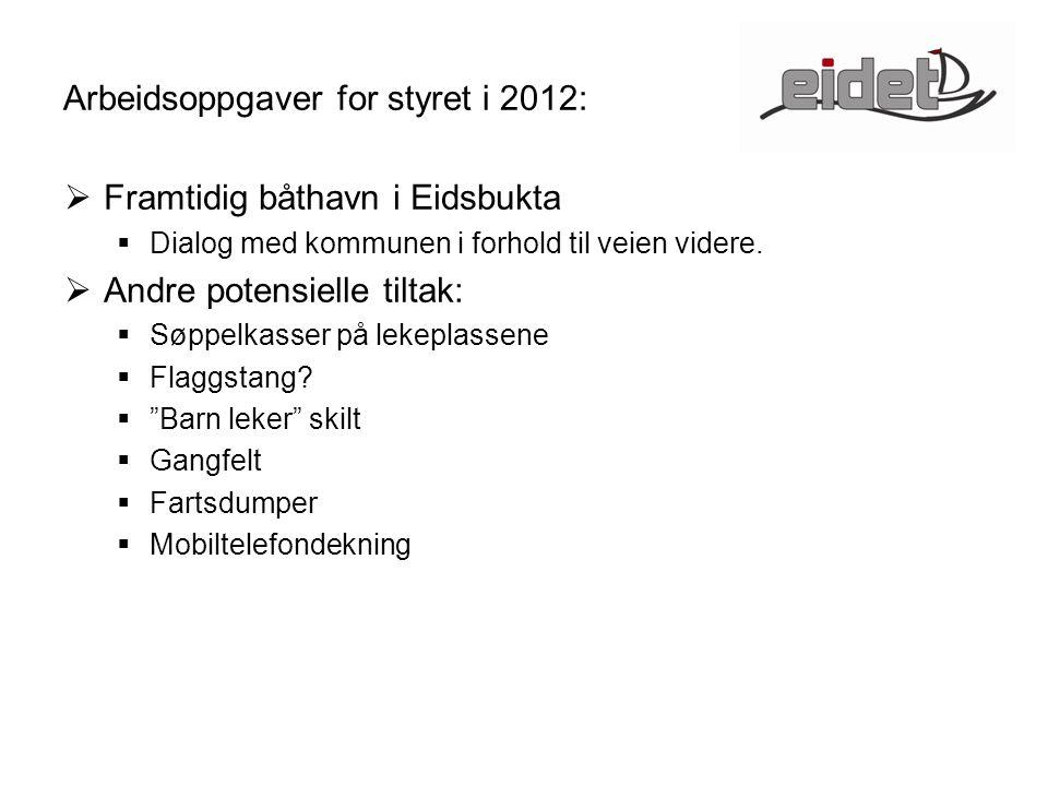 Arbeidsoppgaver for styret i 2012:  Framtidig båthavn i Eidsbukta  Dialog med kommunen i forhold til veien videre.