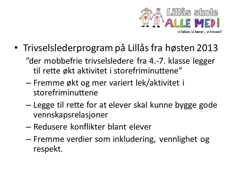 """V i leker, vi lærer, vi trives!! Trivselslederprogram på Lillås fra høsten 2013 """"der mobbefrie trivselsledere fra 4.-7. klasse legger til rette økt ak"""