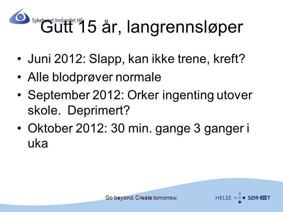 Gutt 15 år, langrennsløper Juni 2012: Slapp, kan ikke trene, kreft? Alle blodprøver normale September 2012: Orker ingenting utover skole. Deprimert? O