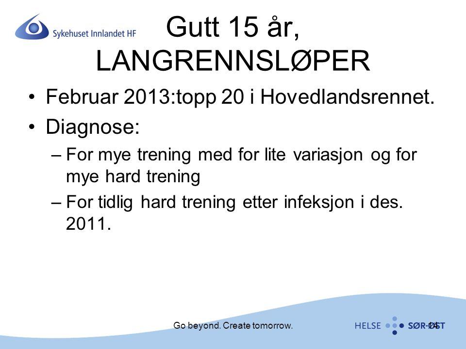Gutt 15 år, LANGRENNSLØPER Februar 2013:topp 20 i Hovedlandsrennet. Diagnose: –For mye trening med for lite variasjon og for mye hard trening –For tid