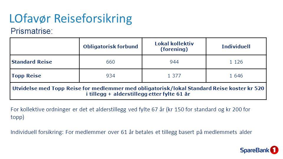 LOfavør Reiseforsikring Prismatrise: For kollektive ordninger er det et alderstillegg ved fylte 67 år (kr 150 for standard og kr 200 for topp) Individ