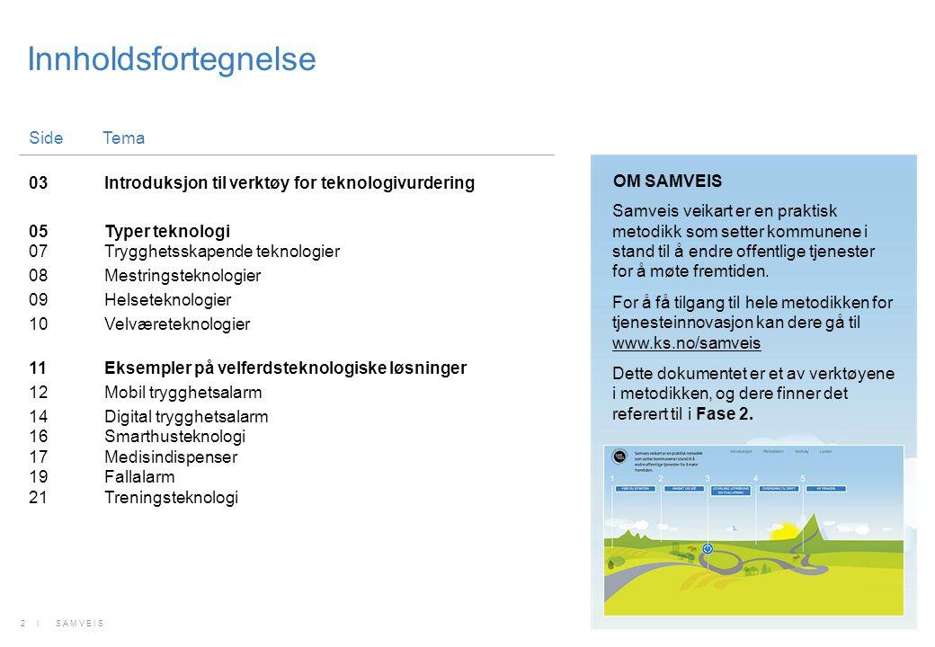 Innholdsfortegnelse SideTema 03Introduksjon til verktøy for teknologivurdering 05Typer teknologi 07Trygghetsskapende teknologier 08Mestringsteknologie