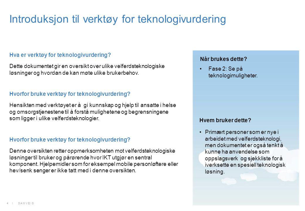 Hva er verktøy for teknologivurdering? Dette dokumentet gir en oversikt over ulike velferdsteknologiske løsninger og hvordan de kan møte ulike brukerb