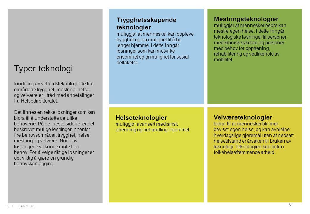 6 Trygghetsskapende teknologier muliggjør at mennesker kan oppleve trygghet og ha mulighet til å bo lenger hjemme. I dette inngår løsninger som kan mo