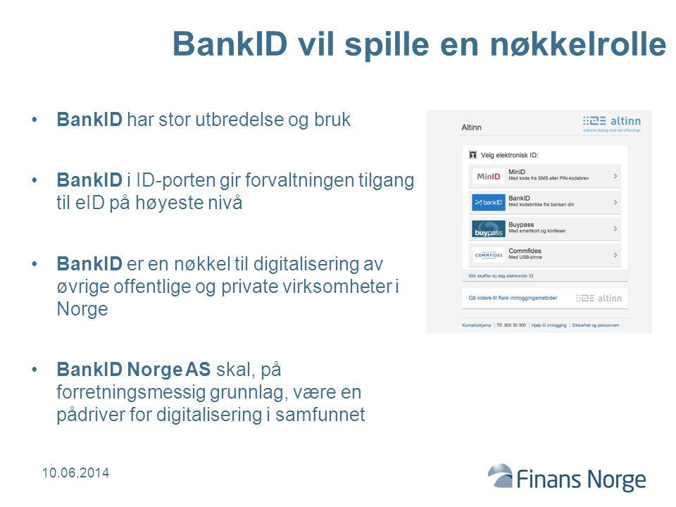 BankID vil spille en nøkkelrolle BankID har stor utbredelse og bruk BankID i ID-porten gir forvaltningen tilgang til eID på høyeste nivå BankID er en