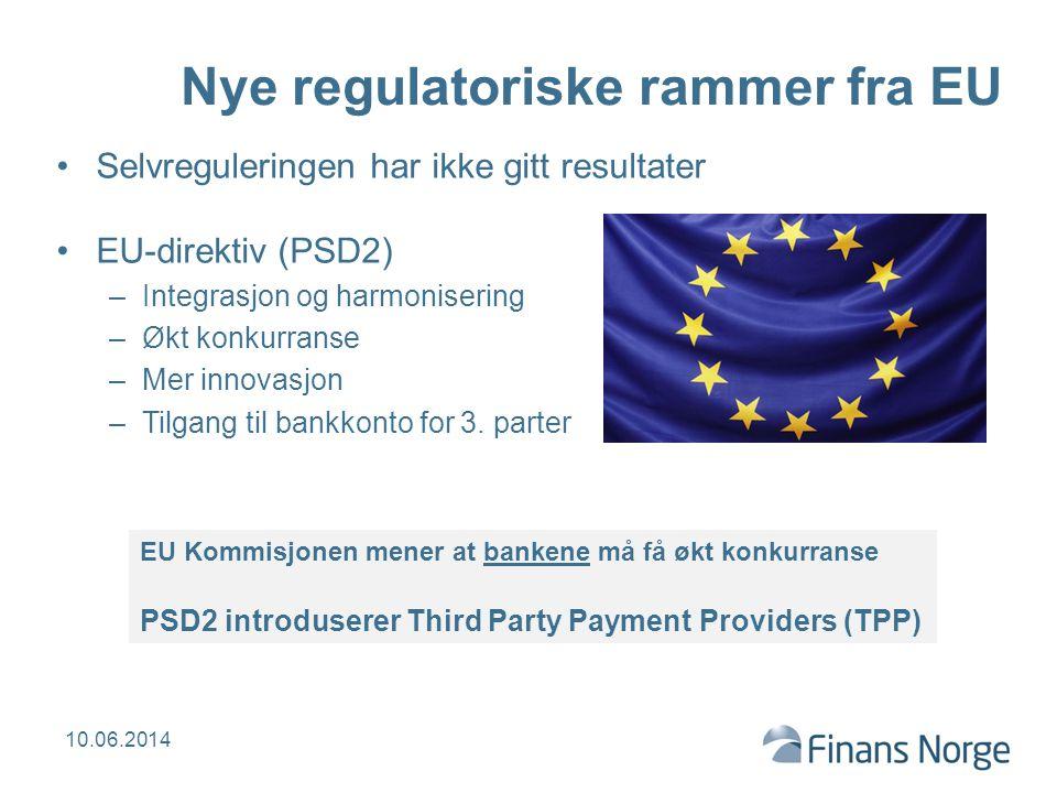 Nye regulatoriske rammer fra EU Selvreguleringen har ikke gitt resultater EU-direktiv (PSD2) –Integrasjon og harmonisering –Økt konkurranse –Mer innov