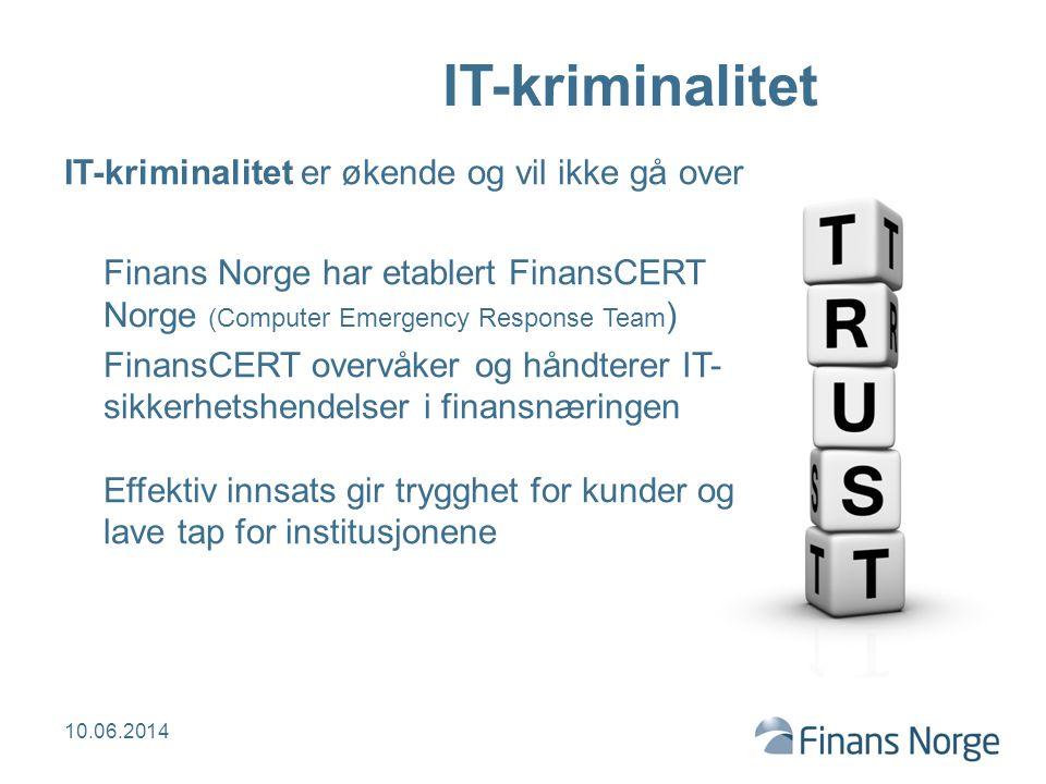 IT-kriminalitet IT-kriminalitet er økende og vil ikke gå over Finans Norge har etablert FinansCERT Norge (Computer Emergency Response Team ) FinansCER