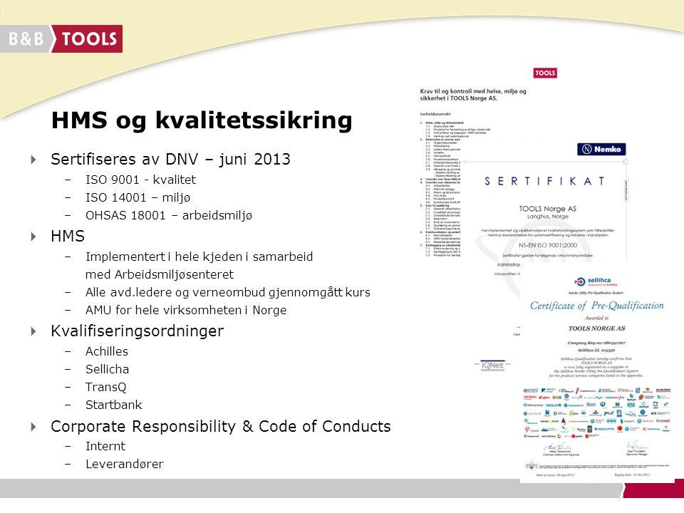 HMS og kvalitetssikring  Sertifiseres av DNV – juni 2013 –ISO 9001 - kvalitet –ISO 14001 – miljø –OHSAS 18001 – arbeidsmiljø  HMS –Implementert i he