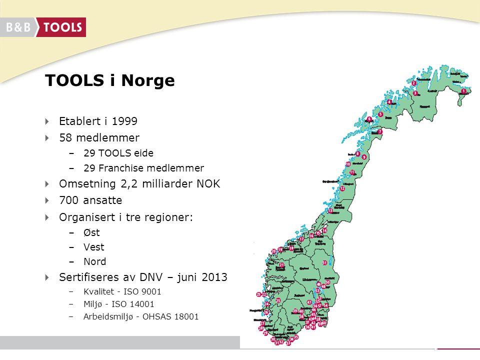  Etablert i 1999  58 medlemmer –29 TOOLS eide –29 Franchise medlemmer  Omsetning 2,2 milliarder NOK  700 ansatte  Organisert i tre regioner: –Øst